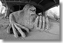 america, arts, black and white, fisheye lens, fremont, horizontal, materials, north america, pacific northwest, sculptures, seattle, stones, troll, united states, washington, western usa, photograph