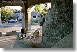 america, arts, couples, fremont, horizontal, materials, north america, pacific northwest, people, sculptures, seattle, stones, troll, united states, veronica, walters, washington, western usa, photograph