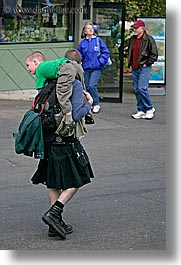 america, boys, carrying, childrens, clothes, fathers, kilt, north america, pacific northwest, people, seattle, united states, vertical, washington, western usa, photograph