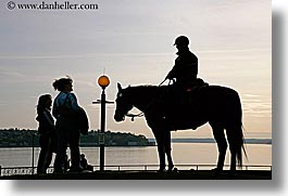 america, horizontal, horses, north america, pacific northwest, people, police, seattle, silhouettes, united states, washington, western usa, photograph