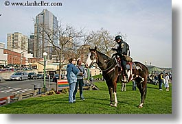 america, horizontal, horses, north america, pacific northwest, people, policeman, seattle, united states, washington, western usa, photograph