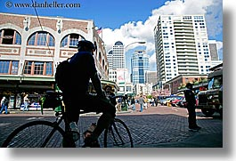 activities, america, bicycles, buildings, cityscapes, horizontal, north america, pacific northwest, pike place, riders, seattle, silhouettes, structures, transportation, united states, washington, western usa, photograph