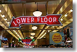 america, floors, horizontal, lights, lower, neon, north america, pacific northwest, pike place, seattle, signs, united states, washington, western usa, photograph