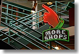 america, fingers, horizontal, lights, more, neon, north america, pacific northwest, pike place, pointing, seattle, shops, signs, united states, washington, western usa, photograph