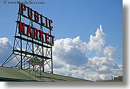 america, clouds, horizontal, lights, market, nature, neon, north america, pacific northwest, pike place, public, seattle, signs, sky, united states, washington, western usa, photograph