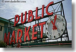 america, clocks, horizontal, lights, market, neon, north america, pacific northwest, pike place, public, seattle, signs, united states, washington, western usa, photograph