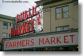 america, horizontal, lights, market, neon, north america, pacific northwest, pike place, public, seattle, signs, united states, washington, western usa, photograph