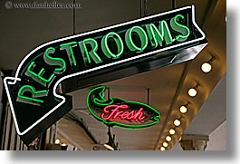 america, horizontal, lights, neon, north america, pacific northwest, pike place, restrooms, seattle, signs, united states, washington, western usa, photograph