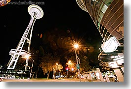 america, buildings, horizontal, long exposure, nite, north america, pacific northwest, seattle, space needle, structures, towers, united states, washington, western usa, photograph