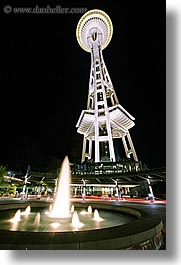 america, buildings, fountains, long exposure, nite, north america, pacific northwest, seattle, space needle, structures, towers, united states, vertical, washington, western usa, photograph