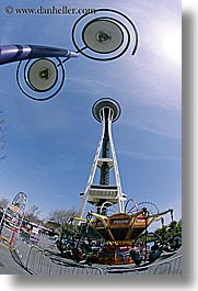 america, arts, buildings, conceptual, fisheye lens, future, lamp posts, modern art, nature, north america, pacific northwest, perspective, seattle, sky, space needle, structures, sun, towers, united states, upview, vertical, washington, western usa, photograph