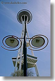 america, arts, buildings, conceptual, future, lamp posts, modern art, north america, pacific northwest, perspective, seattle, space needle, structures, towers, united states, upview, vertical, washington, western usa, photograph