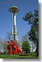 america, arts, buildings, modern art, north america, pacific northwest, red, sculptures, seattle, space needle, structures, towers, united states, vertical, washington, western usa, photograph