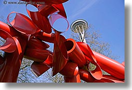 america, arts, buildings, horizontal, modern art, north america, pacific northwest, red, sculptures, seattle, space needle, structures, towers, united states, washington, western usa, photograph