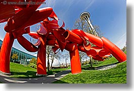 america, arts, buildings, fisheye lens, horizontal, modern art, north america, pacific northwest, red, sculptures, seattle, space needle, structures, towers, united states, washington, western usa, photograph