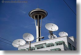 america, buildings, horizontal, north america, pacific northwest, satellite dish, seattle, space needle, structures, towers, united states, washington, western usa, photograph