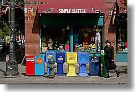 america, boxes, colored, horizontal, newspaper, north america, pacific northwest, pedestrians, people, seattle, streets, united states, washington, western usa, womens, photograph