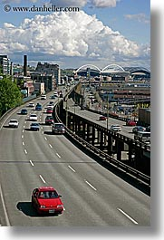 america, cars, clouds, highways, nature, north america, pacific northwest, seattle, sky, streets, traffic, transportation, united states, vertical, washington, western usa, photograph