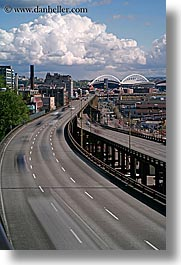 america, clouds, highways, motion blur, nature, north america, pacific northwest, seattle, sky, slow exposure, streets, traffic, transportation, united states, vertical, washington, western usa, photograph