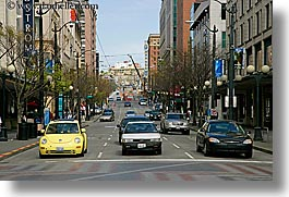 america, cars, horizontal, middle, north america, pacific northwest, seattle, streets, traffic, transportation, united states, washington, western usa, photograph