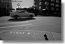 america, black and white, cars, first, horizontal, motion blur, north america, pacific northwest, pigeons, pines, seattle, streets, traffic, transportation, united states, washington, western usa, photograph