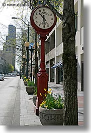 america, century, clocks, north america, pacific northwest, red, seattle, squares, streets, united states, vertical, washington, western usa, photograph