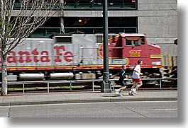 america, horizontal, motion blur, north america, pacific northwest, runners, seattle, streets, trains, united states, washington, western usa, photograph