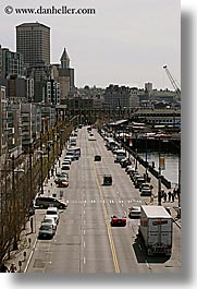 america, buildings, downview, north america, pacific northwest, seattle, streets, traffic, transportation, united states, vertical, washington, western usa, photograph