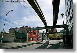 america, horizontal, lamp posts, monorail, north america, pacific northwest, seattle, streets, united states, washington, western usa, photograph