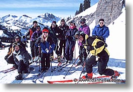 america, groups, horizontal, jackson hole, north america, skiers, snow, united states, winter, wyoming, photograph