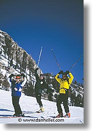 america, groups, jackson hole, north america, skiers, snow, united states, vertical, winter, wyoming, photograph