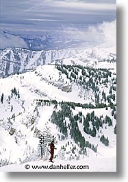 america, jackson hole, north america, skiers, snow, united states, vertical, winter, wyoming, photograph