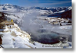 america, horizontal, landscapes, mammoth, north america, snow, united states, winter, wyoming, yellowstone, photograph