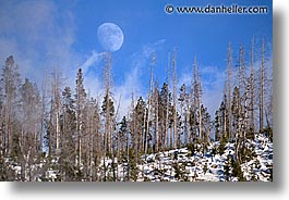 america, horizontal, landscapes, moon, north america, snow, united states, winter, wyoming, yellowstone, photograph