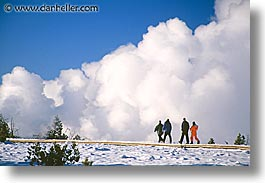 america, geysers, horizontal, north america, snow, steamy, united states, winter, wyoming, yellowstone, photograph