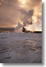 america, faithful, north america, old, snow, steamy, united states, vertical, winter, wyoming, yellowstone, photograph