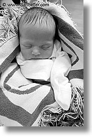 babies, baby face, black and white, blankets, boys, infant, jacks, vertical, photograph