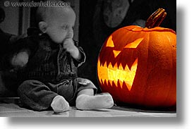 babies, boys, halloween, horizontal, infant, jacks, pumpkins, slow exposure, photograph