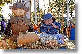 babies, boys, halloween, horizontal, infant, jacks, scarecrow, photograph