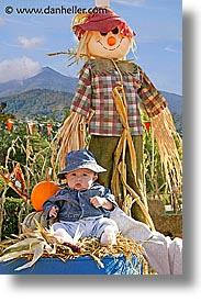 babies, boys, halloween, infant, jacks, scarecrow, vertical, photograph