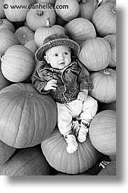 babies, black and white, boys, halloween, infant, jacks, pumpkins, vertical, photograph