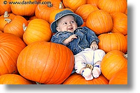 babies, boys, halloween, horizontal, infant, jacks, pumpkins, photograph