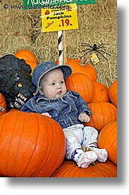 babies, boys, halloween, infant, jacks, pumpkins, vertical, photograph