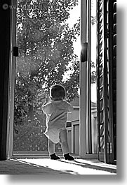 babies, black and white, boys, doors, infant, jacks, may, sliding, vertical, photograph